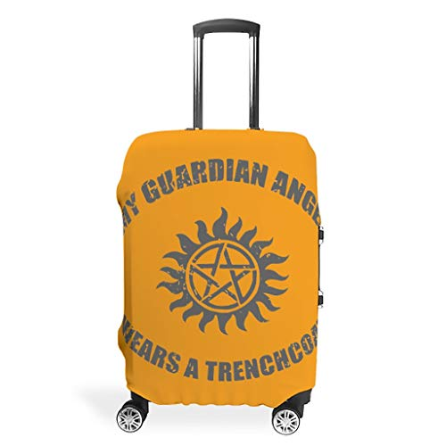 Castiel Guardian Angel Travel Luggage Cover Durable Anti-Scratch Fits 18-32 Inch for Wheeled Suitcase Over Softsided White m(22-24 inch)