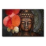 ThinkingPower Deko Kunstdrucke Buddha Statue Wandkunst