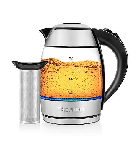 Chefman Electric Glass LED Indicator Lights, 360 deg Swivel Base, BPA Free, Stainless Steel, 1.8 Liters, Kettle + Tea Infuser
