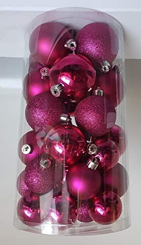 keamingk 30 Palline di Natale Fuxia ASSORTITE Albero di Natale ADDOBBI Decorazioni