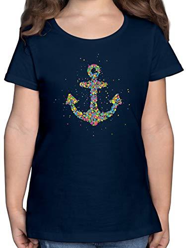 Up to Date Kind - Gepunkteter Anker - Bunt - 140 (9/11 Jahre) - Dunkelblau - Anker - F131K - Mädchen Kinder T-Shirt