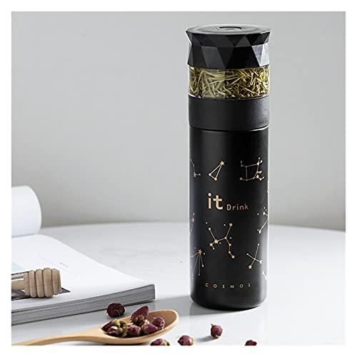 Borraccia Termica, Creativo Acciaio inossidabile Thermos Cup Tazza Aspirapolta Conservazione del calore Separaglio Separazione Separazione Infusore con tazza portatile pulsante ( Color : Black )