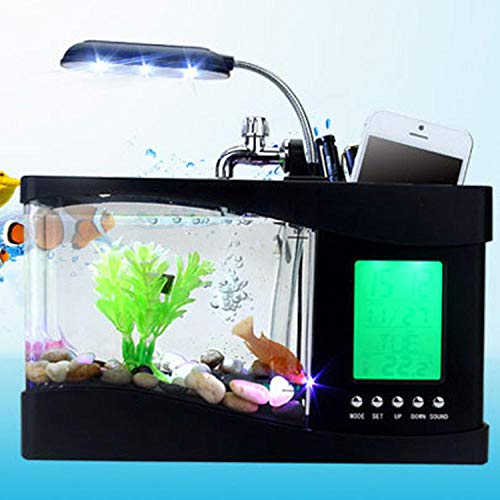 Wakker Licht Wekker, Usb Mini Creatieve Nieuwe Exotische Aquarium Homeware Pen-Kalender Digitale Kalender Tijd Alarm Led Bureaulamp Nachtverlichting