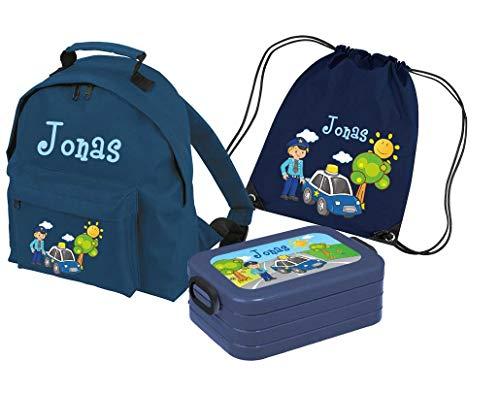 Mein Zwergenland Set 4 Kindergartenrucksack Classic und Brotdose Lunchbox Maxi + Turnbeutel mit Name Polizei, 3-teilig, Navy