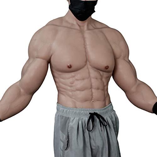 BODYDOM Realistische Silikon Muskelanzug Gefälschte Männliche Brust mit Einhorn-Armen für Cosplay Transsexuell Maskerade Kostüm (Aufgerüsteter Halbkörper-Muskelanzug, 2)
