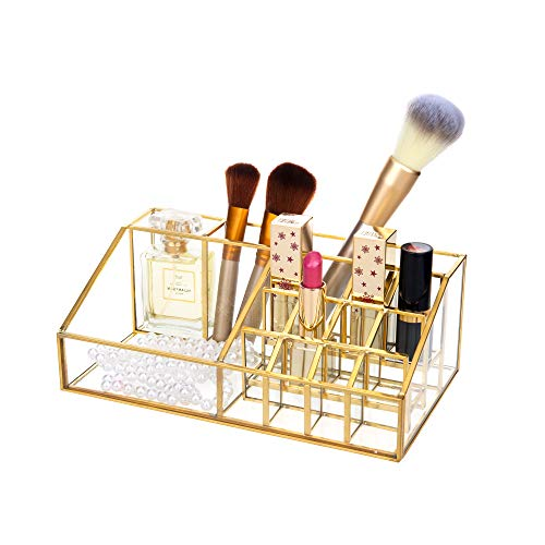 Feyarl メイクボックス 化粧品収納ボックス 透明 メイクケース ジュエリー・アクセサリー収納 小物入れ ゴールド