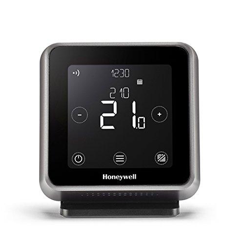 Honeywell Lyric T6R Wi-Fi Termostato y receptor caja con soporte de mesa y fuente de alimentación, 1pieza, Negro, y6h910rw4013
