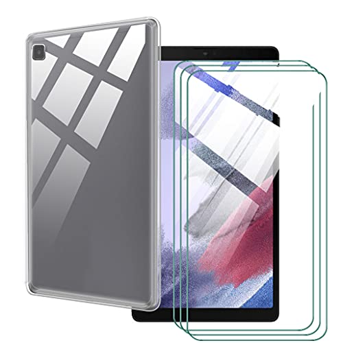 LKJMY para Samsung Galaxy Tab A7 10.40 Tableta Funda + 3 Piezas Cristal Templado,Transparente Carcasa Silicone Case Bumper,Anti-Golpes Cover Anti-Rasguño Cover Caso,Vidrio Templado-TM