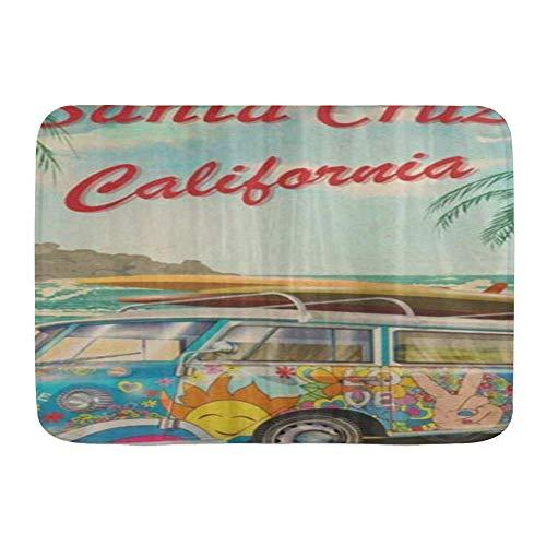 N\A Tapetes para Puerta, Playa Santa Cruz California Retro Vintage Surfer Van Surfing Bus Tropical, Piso de Cocina Alfombra de baño Alfombra Absorbente Interior Baño Decoración Felpudo Antideslizante