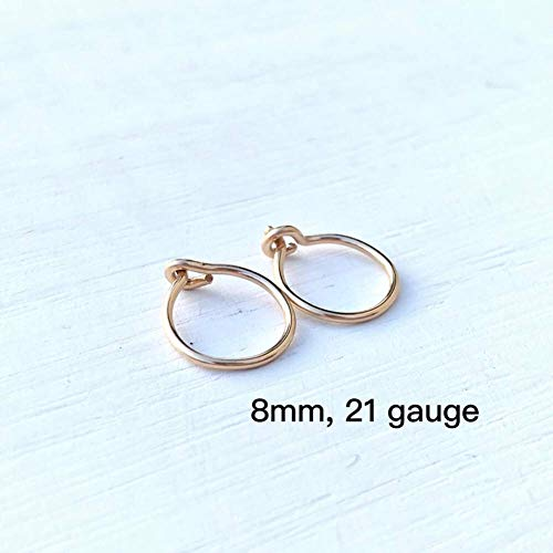 Small 8mm Gold Hoop Earrings for Cartilage Women, 14K Yellow Gold Filled Handmade Tiny Thin Huggie Hoops