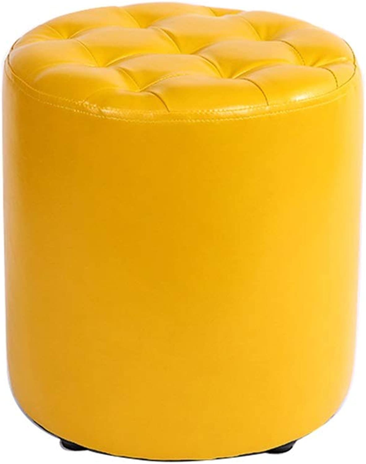 Small Round Stool Footstool Waterproof Pu Leather Stool Upholstered Pouffe Low Stool for Kids & Adults 100kg Weight Capacity Load(30×35cm)