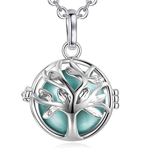 EUDORA Harmony Ball Tree of Life Music Chime Ball Locket Pendant Necklace for Women Girls Baby Charming Gift Jewellery,30inch (Seagreen)