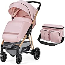 HEAO Baby Stroller for Infant &Toddler - Strollers Pushchair with Foot Cover, Mom Bag, Large Storage Space, Strollers with Backrest Adjustable -Pink