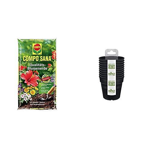 COMPO SANA Qualitäts-Blumenerde mit 8 Wochen Dünger für alle Zimmer- & Elho Gb Anzuchttopf Starter Set (set Of 10) - Growpot - Lebhaft Schwarz - Drinnen & Draußen - Ø 7.5 x H 13.4 cm