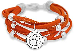 FTH Clemson Tigers Leather Strand Bracelet with Logo and Lobster Clasp