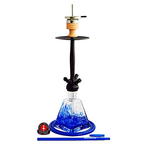 Amy Deluxe Shisha Aero-X, 70 cm, Wasserpfeife mit Klick-Verschluss, Silikonschlauch-Set, Hot-Screen Kaminkopf, BK-BU