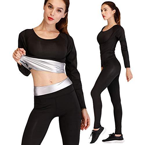 Damen Sauna Trainingsanzug Slimming Saunaanzug Top & Hose Gewichts Verlust Trainingsanzug,Schwarz,M