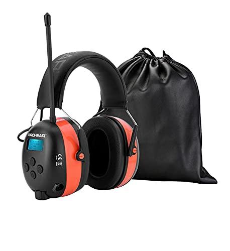 PROHEAR 033A DAB Gehörschutz mit Bluetooth 5.0/ FM Radio, Wiederaufbare Radio Ohrenshützer, Eingebautem Mikrofon und Lärmreduzierung für Mähen, lärmintensive Freizeitaktivitäten SNR30dB -Orange