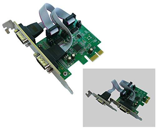 KALEA-INFORMATIQUE–Tarjeta controladora PCI Express (PCIe) Serie RS2322Puertos–CHIPSET ASIX–selección + 5V/+ 9V sobre Pines 1y 9–equerres Low y High Profile–Windows Linux Android