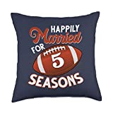 Football Couple 5th Wedding Anniversary Gift Tee 5 Years Marriage 5th anniversary Gift for Football Lovers Throw Pillow, 18x18, Multicolor