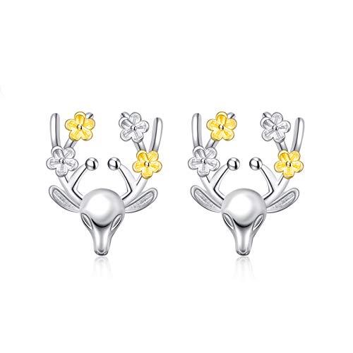 BSbattle Nuevo adorno creativo de Navidad elegante alce de cristal de ciervo pendientes de tuerca de las mujeres de la joyería de moda regalo 2021