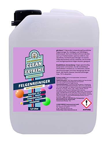 CLEANEXTREME 2,3L Felgenreiniger mit Duft Bubblegum - Säurefreier, hochwirksamer Reiniger für Alufelgen - mit Farbumschlag Farbindikator Farbwechsel