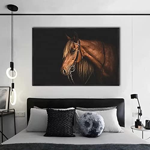 Impresiones en lienzo Pintura de lienzo de animales arte de pared de caballo blanco y negro venta al por mayor pintura de pared para carteles e impresiones Cuadros de decoración para el hogar 50x70cm