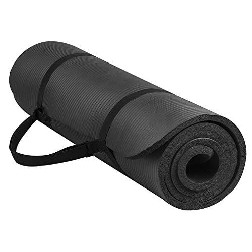 Multifunctionele gezonde sporten Knap lichaam Smaakloze yoga Verdikking Milieuvriendelijke rubberen sportmat (zwart)