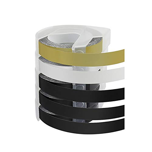 5X Comaptible for DYMO plastic Embossing Tape 9mm x 3m Adhesive for Dymo Junior Omega label embossing device (3x White on Black, 1x white on Gold/Silver)