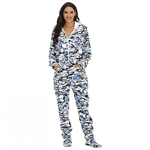 iQKA Women Onesie Pajamas Bodysuit Jumpsuit Heart Print Christmas Cosplay Costume Loungewear with Detachable Feet(Blue,XL