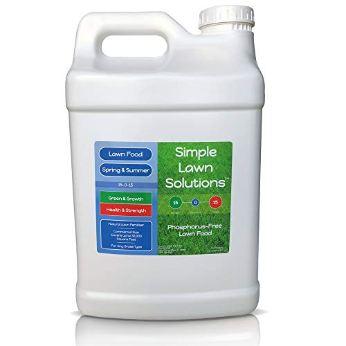 Superior Nitrogen & Potash 15-0-15 NPK- Lawn Food Natural Liquid Fertilizer - Concentrated Spray- Any Grass Type- Simple Lawn Solutions Green, Grow, Health & Strength- Phosphorus-Free (2.5 Gallons)