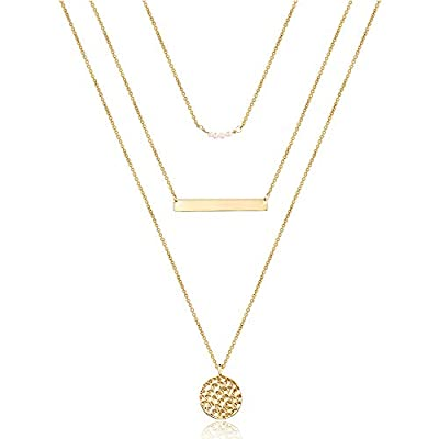 Turandoss Dainty Layering Pearls Necklace Bar Necklace Hammered Disc Pendant Necklace Simple Layering Necklace Gold Plated Choker for Women