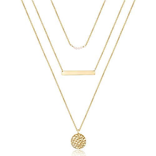 Gold Layered Necklaces for Women, Dainty Layering Pearls Necklace Bar Necklace Hammered Disc Pendant Necklace Simple Layering Choker Necklace Layered Gold Necklaces for Women Gold Jewelry