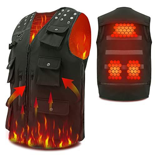 Vinmori chaqueta Térmico , ropa con calefacción alimentada por USB, chaqueta con calefacción de invierno, chaqueta lavable de invierno cálido con temperatura ajustable de 3 niveles.