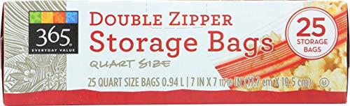 365 Everyday Value, Double Zipper Storage Bags, Quart Size, 25 ct