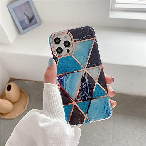 Custodia per telefono viola in marmo geometrico galvanico antiurto adorabile per iPhone 12 11 Pro XS MAX XR X 7 8 Plus SE 2020 Cover posteriore, JDCS8, per iPhone 7plus