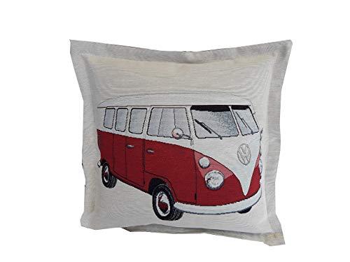Bullikissen VW Bus Volkswagen retro Bulli Camping Kissen rot Gobelin Zierkissen ca. 40x40cm