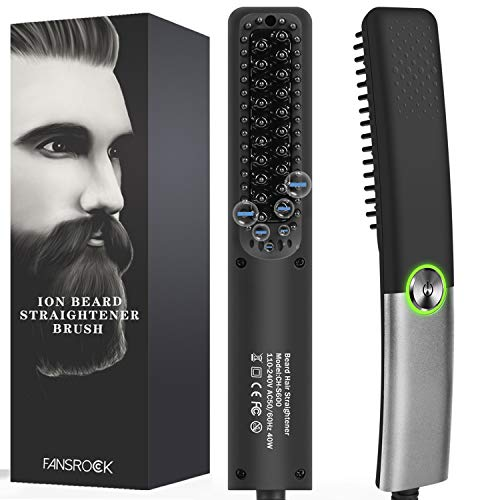 Beard Straightener for Men, Ionic Beard Straightening Comb with Anti-Scald Feature, Heated Hair Straightener Brush for Men & Women, Portable Beard Brush Straightener