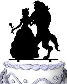 Meijiafei Beauty and Monster Silhouette Wedding Custom Cake Topper