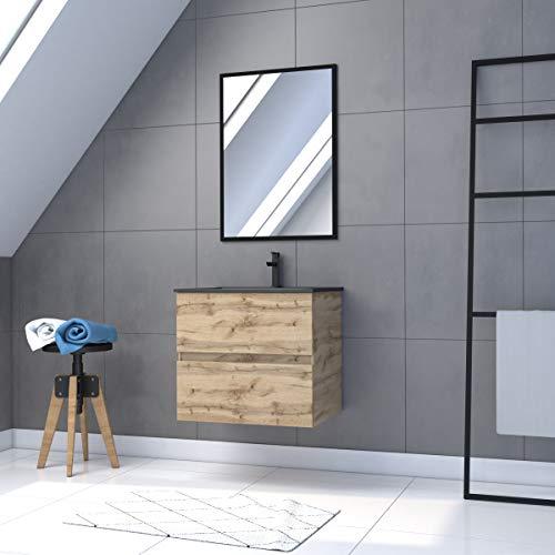 Mueble de baño con cajón/lavabo/espejo negro, 60 x 80 cm, roble natural