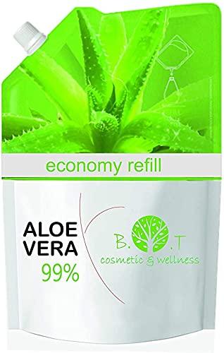 Gel di Aloe Vera Fresca 99% RICARICA 1000 g. Doposole, Antibatterico, Antisettico, Idratante, Dopobarba. Aiuta in caso di Prurito del Cuoio Capelluto, Forfora, Acne, Cicatrici, Pelle Secca