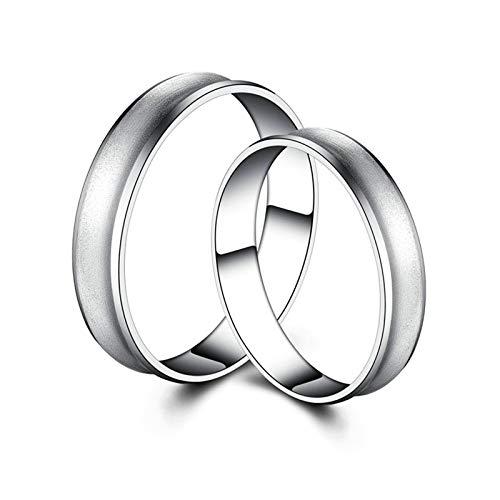 Aienid Pt950 Platin Ring Für Paare Mit Gravur Silber Matte Runde Form Paar Ringe Set Frauen 56 (17.8) & Herren 70 (22.3)