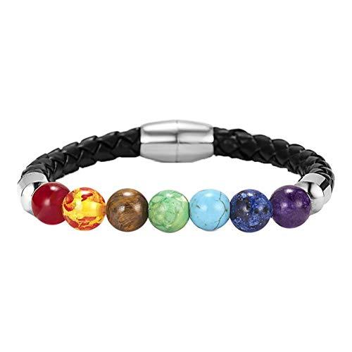Jespeker Men Women 8mm Lava Rock 7 Chakra Essential Oil Diffuser Bracelet Elastic Natural Stone Yoga Beads Bracelet