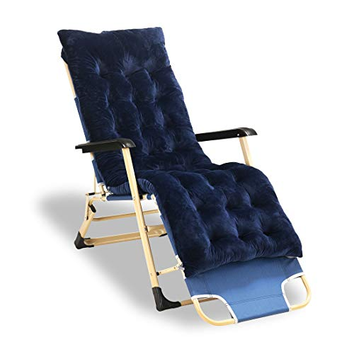 Merstoclo Outdoor Lounge Recliner Chair,Teslin Fabric Long Chair, with a XL Comfortable Cotton Pad, Summer and Winter Garden Chair Adjustable Patio Lounge Chair Blue Color with Pads
