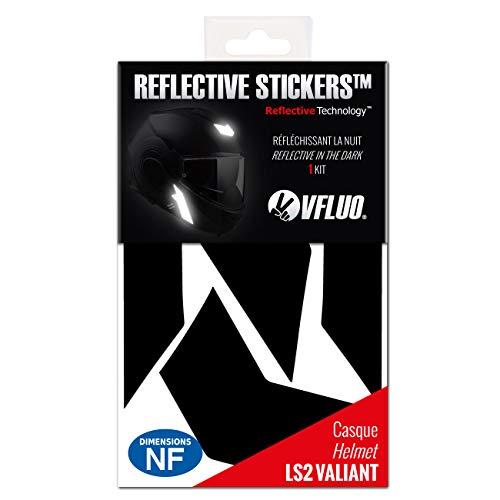 VFLUO Valiant™, Kit 5 Adhesivos Retro-Reflectantes Casco LS2 Valiant™ y Compatible con Todos los Cascos de Motocicleta, 3M Technology™, Negro