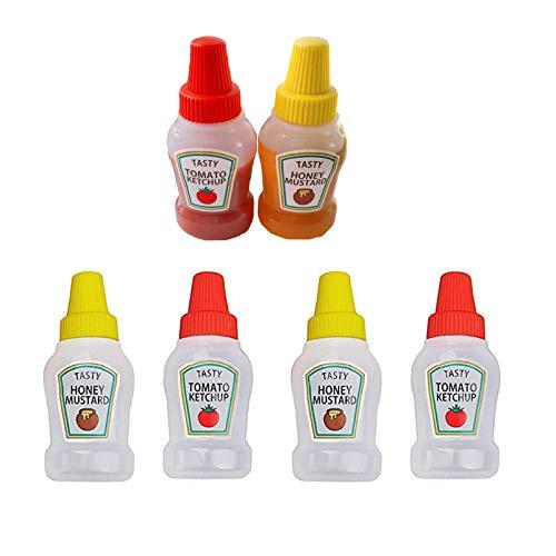 VEIREN 6 Pieces Empty Condiment Squeeze Bottles Mini Tomato Ketchup Jar with Screw Cap Plastic Salad Sauce Honey Mustard Storage Container BBQ Camping Office School Bento Box Dressing Dispensers, 25ml