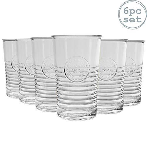 Bormioli Rocco Officina 1825 Vertrek glazen set - Vintage Italiaanse Cut glastuimelschakelaars Cocktail - 475ml - Set van 6