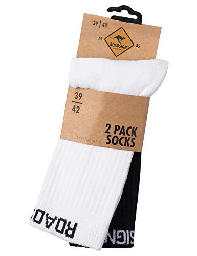 ROADSIGN australia Socken uni, im 2-er Pack, weiß/schwarz | 39-42