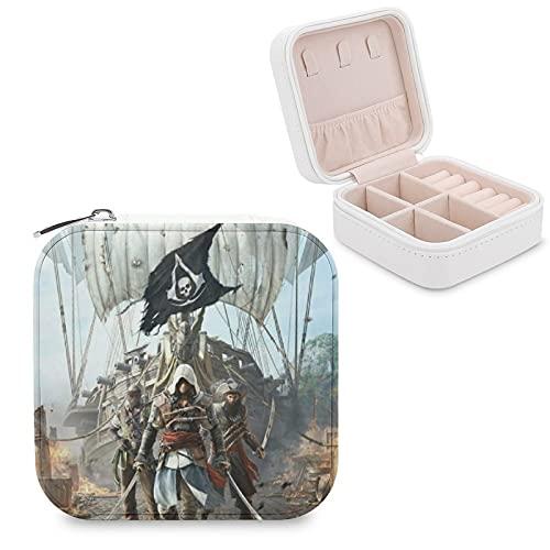 Caja de joyería Assassin's Creed de piel sintética, pequeña y portátil, para guardar joyas, collares, pendientes, anillos, joyero, para niñas y mujeres