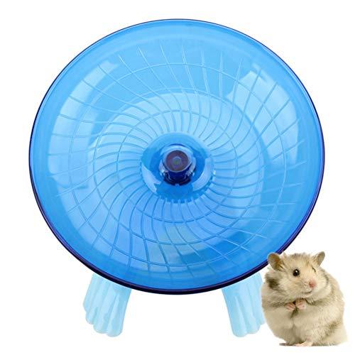 Popopopp Hamsterrad mit Untertasse, blau, strapazierfähig, aus ABS-Kunststoff, Laufrad für Chinchilla, Rennmäuse und Eichhörnchen